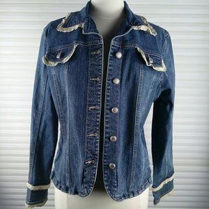 Dressbarn Denim Jacket With Lace Sz XL